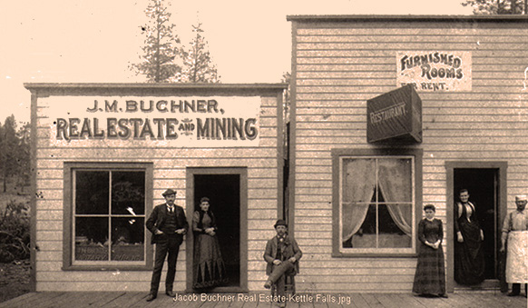 Buchner Real Estate office in Old Kettle Falls ca 1890 (shared by Ronald Andersen)
