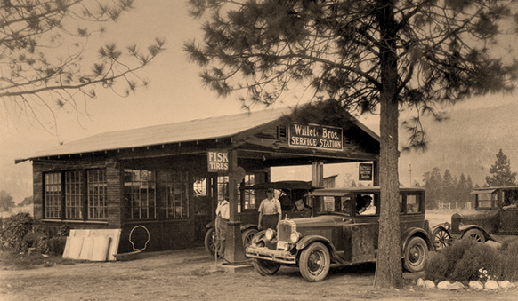 Willet Bros. service station in Old Kettle Falls (shared by Bill Charlton)
