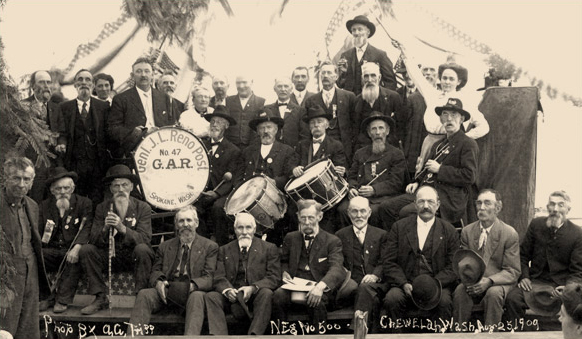 Postcard of a GAR gathering Chewelah, Wash, Aug 25, 1909 (shared by Mary Gifford)